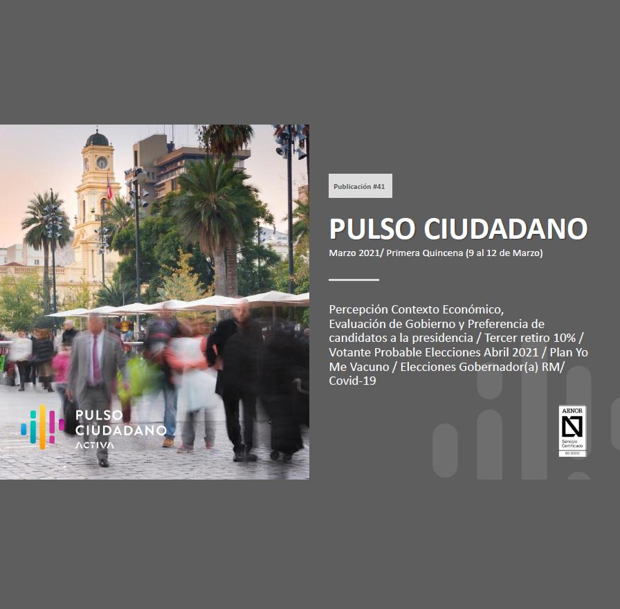 Estudio: Pulso Ciudadano – Marzo 2021/ Primera Quincena (9 al 12 de Marzo)