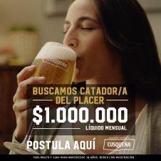Imagen de la Nota: Hay Pega: Cusqueña ofrece 1 millón de pesos para disfrutar los placeres de la vida